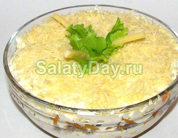 Салат из рыбных консервов «Рыбка с грибочками»