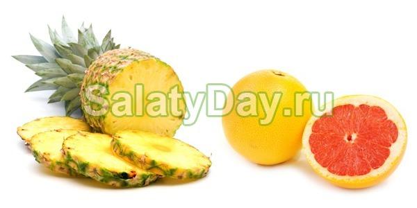 Фруктовый салат из грейпфрута и ананаса с мятным сахаром