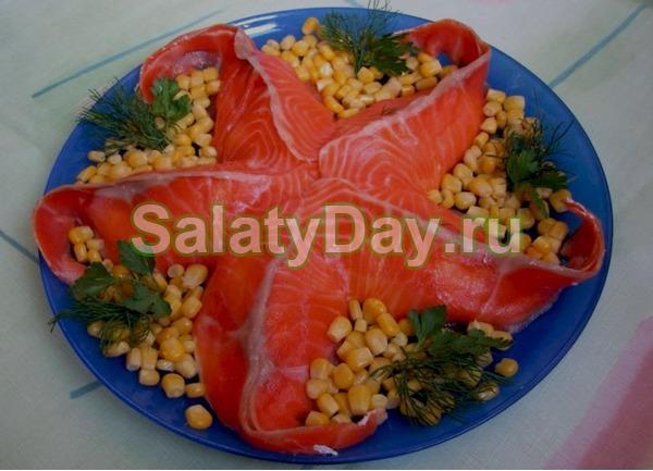 Салат Морская звезда с кукурузой