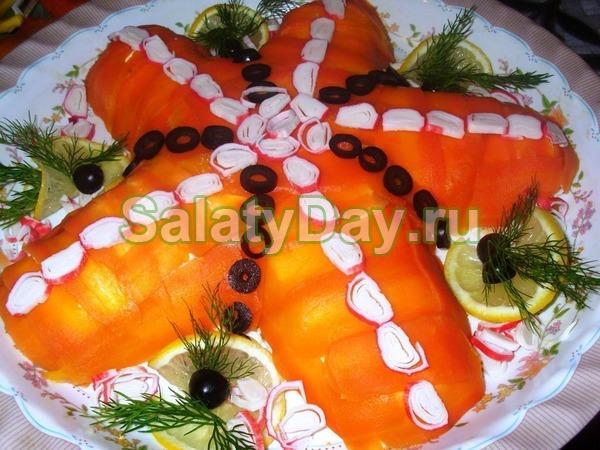 Салат Морская звезда с апельсинами