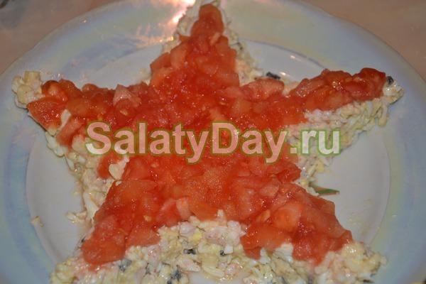 Салат Морская звезда с крабовым мясом и помидорами