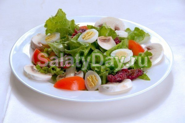 Салат из говяжьего языка салатным миксом