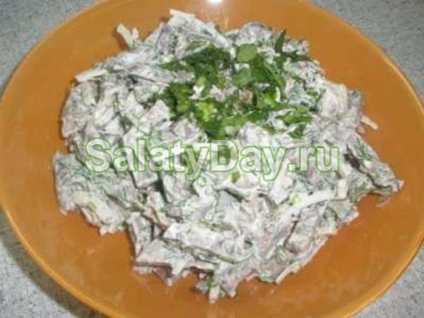 Салат из сердца и языка свиного рецепт
