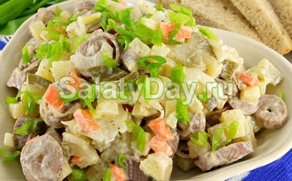Салат из шампиньонов со свежими огурцами