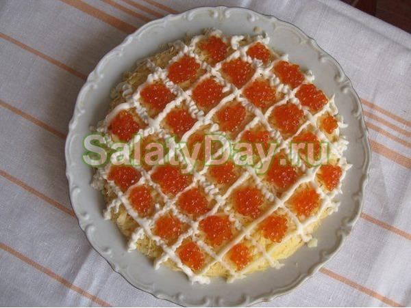 Рецепт салата царский с красной икрой