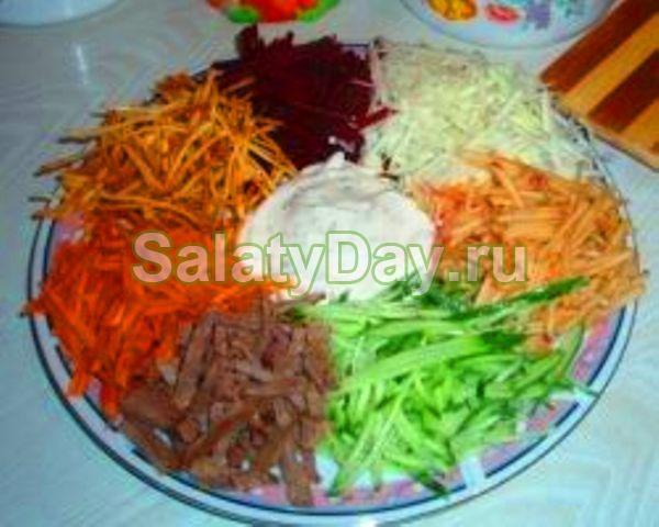 салат радуга рецепт с фото с картофелем