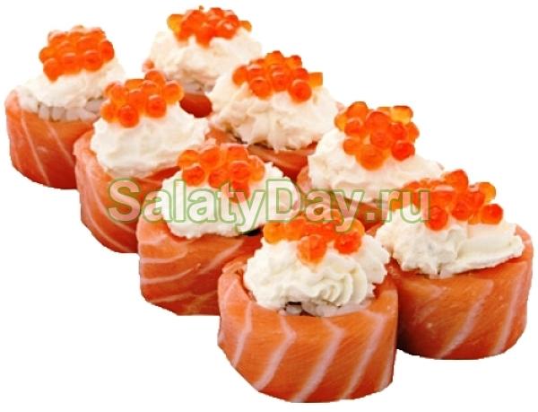 Салат-роллы с красной икрой