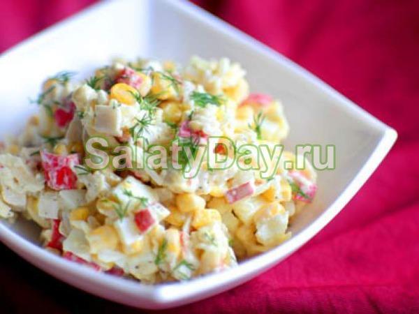 крабовые палочки кукуруза колбаса грибы салат рецепт