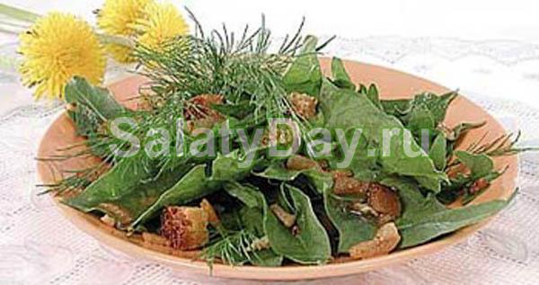Деревенский салат со свиным сердцем и одуванчиками