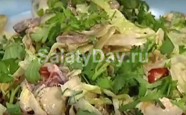 Сложный по составу, но очень вкусный салат с сердцем