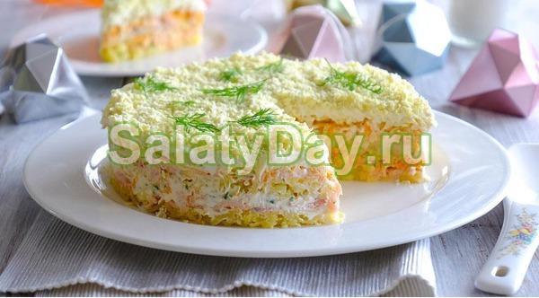 Салат с рыбными консервами «Мимоза»