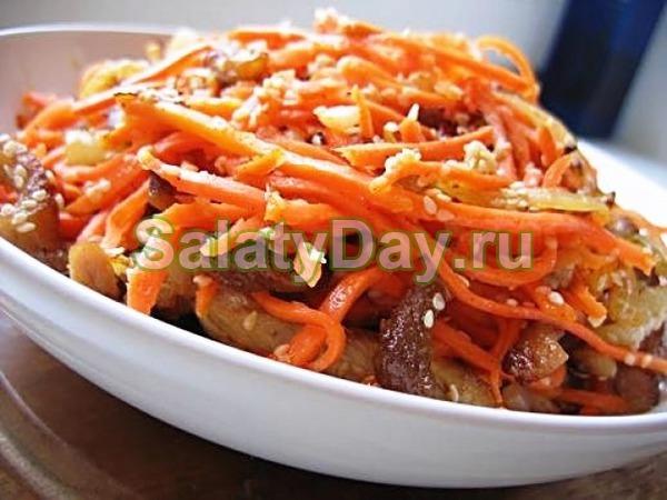 Салат «Мужской каприз» с говядиной и маринованными грибами