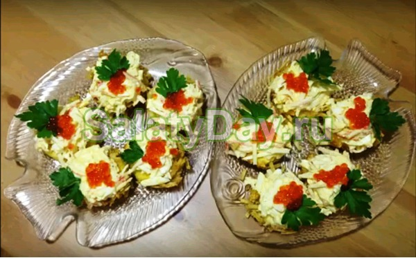 Салат «Мужской каприз» с картофельными корзиночками