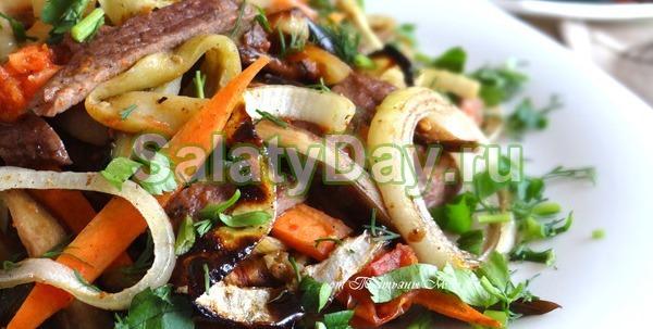 Теплый салат «Мужской каприз» с говядиной и овощами