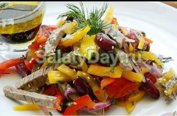 Овощной салат «Мужской каприз» с говядиной