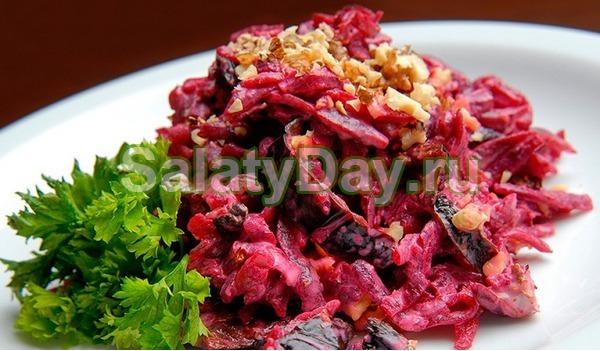 салат щетка рецепт с черносливом и