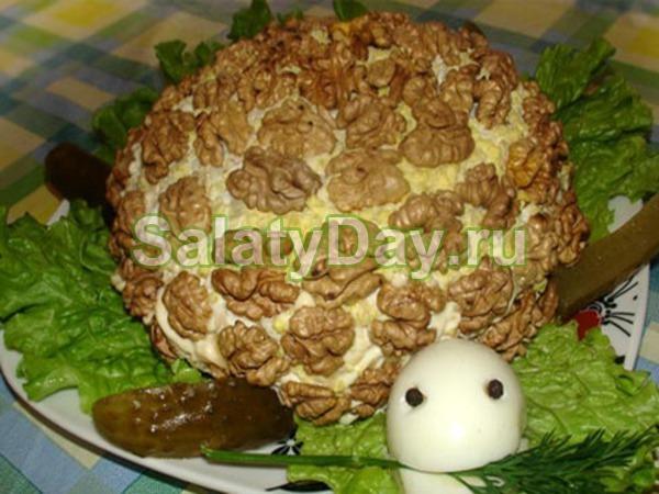 салат ананас с курицей и грецкими орехами рецепт с фото слоями
