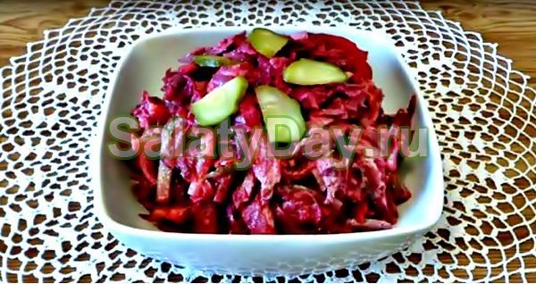 Салат из свеклы со свининой