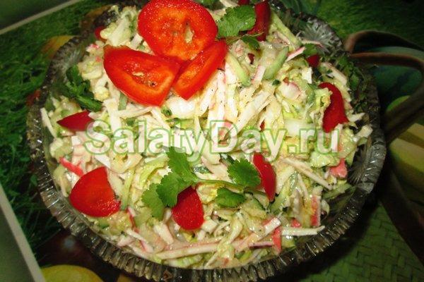 Салат из крабовых палочек с пекинской капустой рецепт с