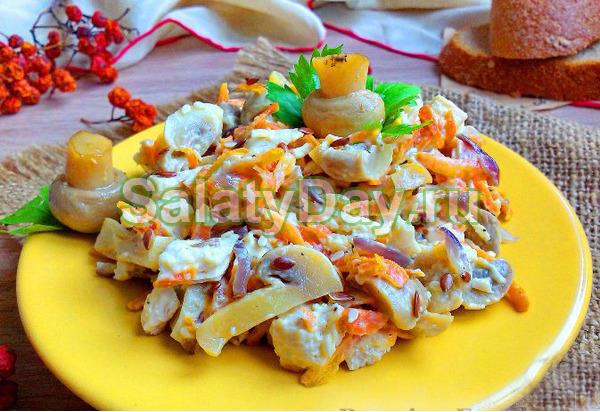 салат обжорка рецепт грибы курица