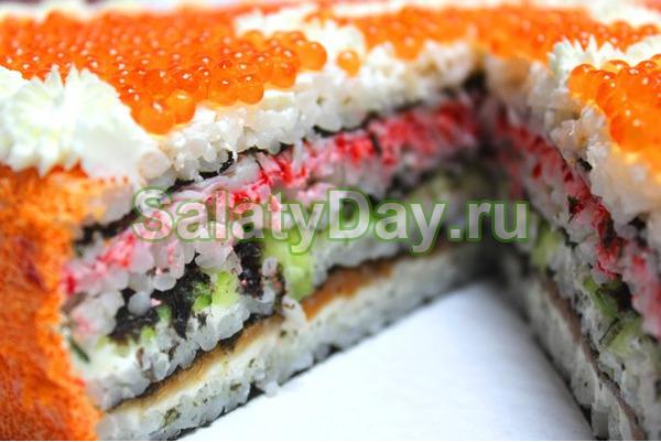 Салат суши – торт