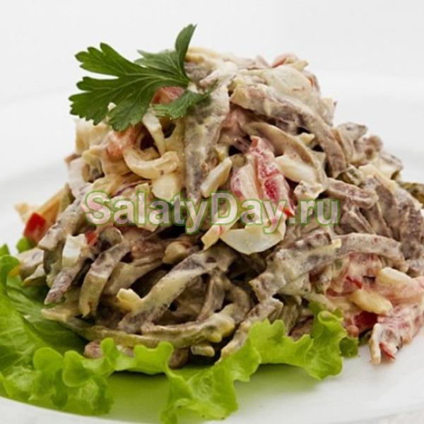 салат теплый с языком рецепт