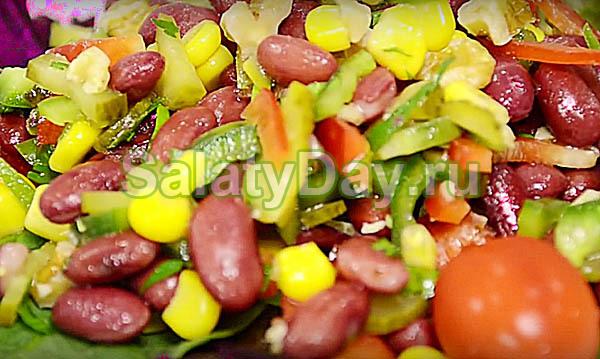 Салат из красной фасоли диетический рецепт с