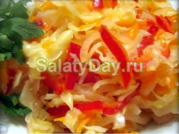салат на зиму капуста перец болгарский морковь лук на зиму
