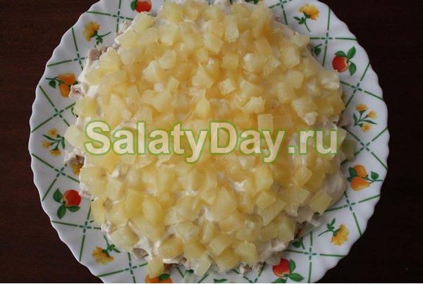 Быстрый и вкусный салат с ананасами