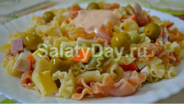 Салат из макарон и морепродуктов рецепты с