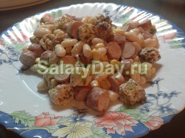 Салат простой – фасоль+кукуруза+колбаса