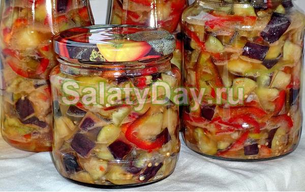 Приготовление салат из баклажан из перца и помидор