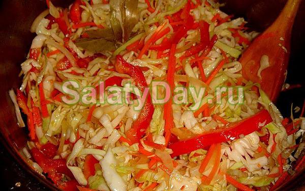 Салат из свежей капусты и моркови и перцем, и луком