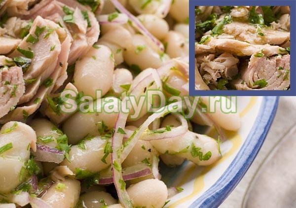 Салат с белой фасолью и маслинами