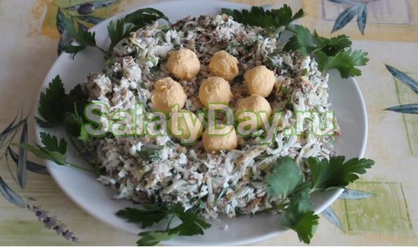 Салат гнездо кукушки рецепт классический
