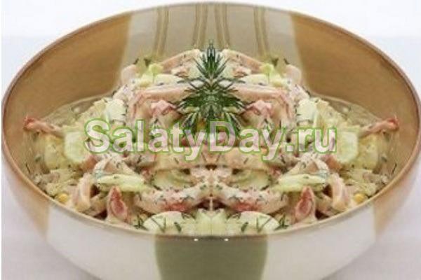 Салат из яичных блинчиков «Облегченный»