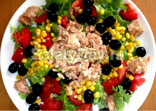 Салат с тунцом консервированным и помидорами