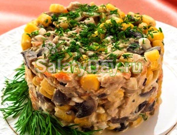 Рецепты салатов с консервированными грибами