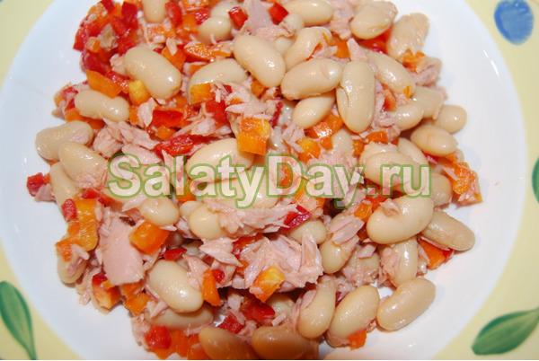 Салаты с консервированной белой фасолью рецепты с простые и вкусные