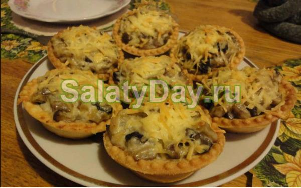 рецепты салатов в тарталетках с грибами