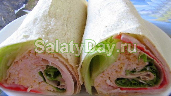 Крабовый салат в лаваше рецепт