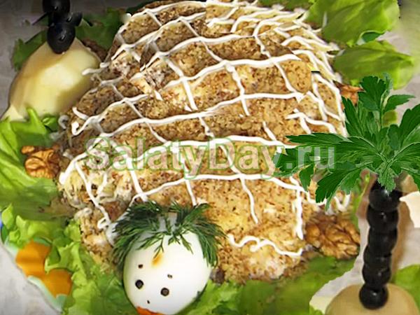 Салат Черепашка с грибами