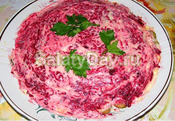 Салат из куриной печени и соленых огурцов