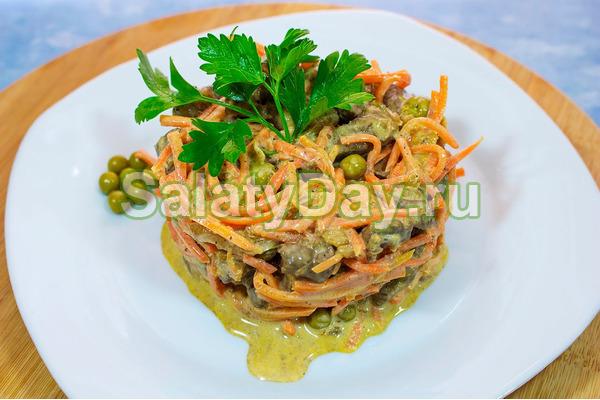 Салат с печенью и морковкой по-корейски