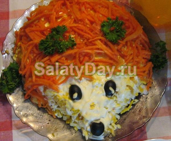 Рыбный салат Ежик