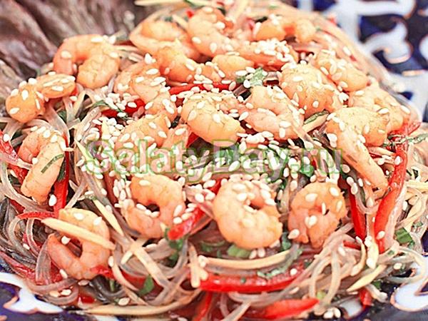 фунчоза с консервированными морепродуктами рецепт