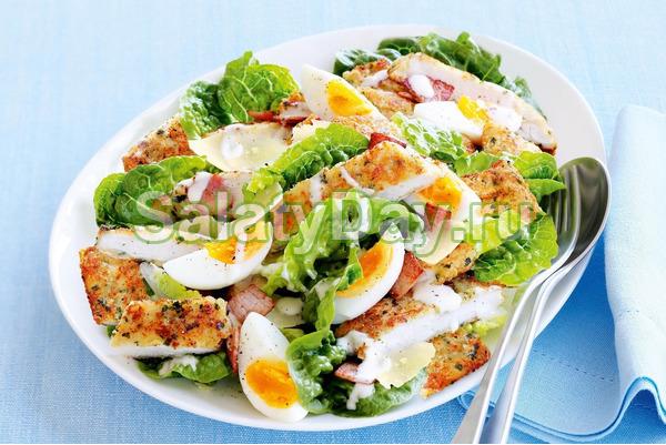 рецепт салата цезарь с курицей и сухариками простой