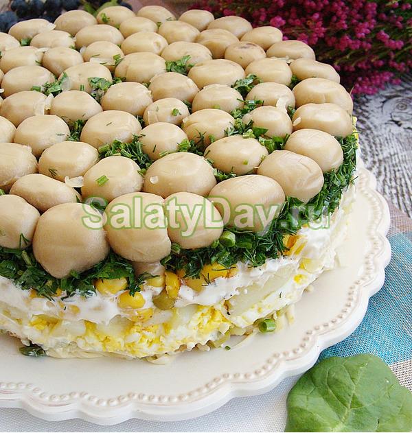 Салат Полянка с шампиньонами - грибной рай для гурмана: рецепт с фото и видео