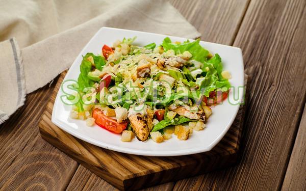Салат цезарь с курицей и соусом в домашних условиях рецепт
