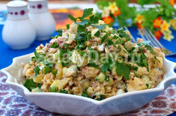 салат с сайрой и сузарикамирецепт